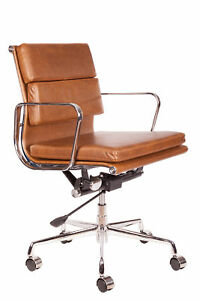 Vintage Brown Leather Soft Pad Office Desk Chair Swivel Aluminium Frame Low Back