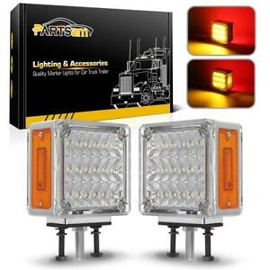 2x39 Led Clear amber red Stop Turn Signal Tail Stud Mount Fender Pedestal Lights