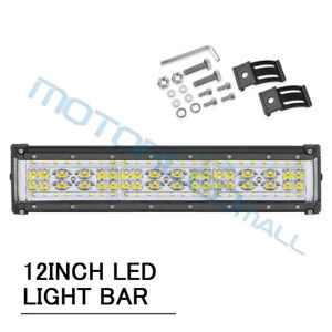 12inch 300w Quad Row Led Light Bar Work Driving Spot Flood Offroad 4wd Boat Fog