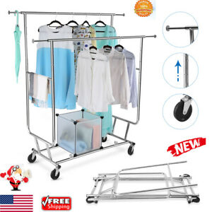 Collapsible Adjustable Double Rail Rolling Garment Rack Hanging Rack Heavy Duty