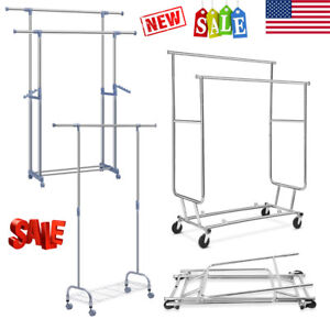 Adjustable Rolling Garment Rack Heavy Duty Clothes Shoe Hanger Storage Organizer