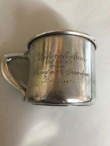 Gorham Sterling Silver Baby Cup Engraved 1947