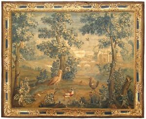 Antique 18th Century Flemish Landscape Verdure Tapestry With Birds In The Woods