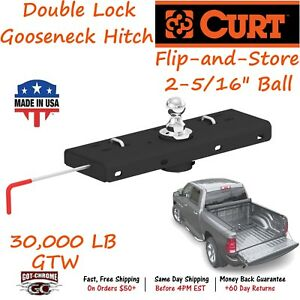 60607 Curt Flip And Store Ball Double Lock Gooseneck Hitch With A 30 000 Lb Gtw