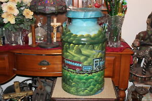 Large Antique Milk Can Hand Painted Erie Railroad Covered Bridge Signed Ewald