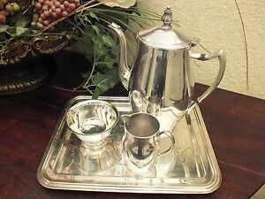 Vtg F B Rogers Silver Co Paul Revere Reproduction Coffee Set W Rect Tray