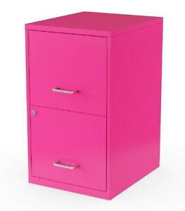 Hot Pink 2 Drawer Filing Cabinet Locking Letter Size Metal 18 Compact Office