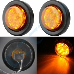 Eccpp Pair 2 Round Amber 9 Led Side Marker Clearance Lights With Grommet Plug