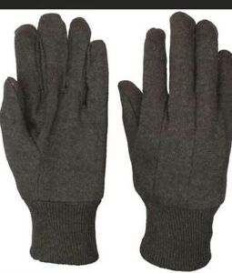 Brown Jersey Work Gloves All Cotton Mens 12 Pair