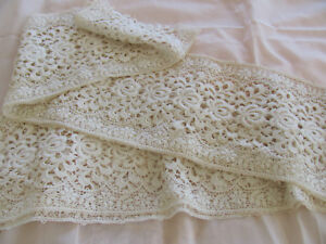 3 Yards Edwardian Early 1900s Point De Venise Needle Or Guipure Lace Trim Ivory