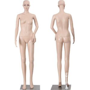 69 29 Female Full Body Realistic Mannequin Display Head Turns Dress Form W Base