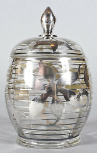 Stunning Vintage Art Deco Glass Jar With Silver Resist Floral Design 8 5 High