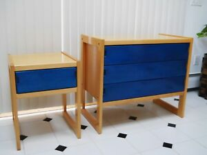 Vintage 1970 Ikea Sweden Mid Century Aniline Dyed Lacquered Dresser Nightstand