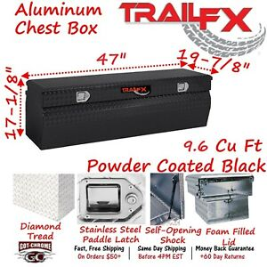 150482 Trailfx 47 Black Aluminum Truck Bed Chest Tool Box Wedge