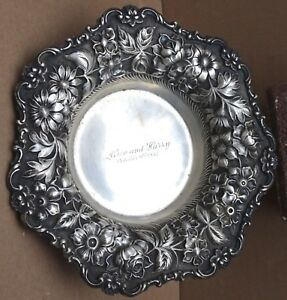 Stieff 99a Repousse Sterling Candy Dish Bowl 8 2 T O 7 Diameter