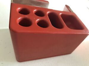 Vtg Cellux Tape Dispenser Organizer Red Modern Mod Made Italy Heavy Duty A14
