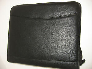 Vintage Franklin Planner Black Leather Zipper Closure 8 1 2 X 10 Closed