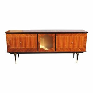 Long French Art Deco Light Macassar Bony Sideboard Buffet Bar Circa 1940s