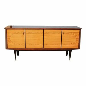 French Art Deco Exotic Mahogany Sideboard Buffet Bar Circa 1940s