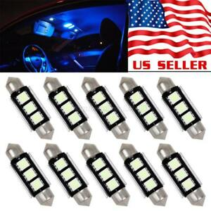 10x Ice Blue Epistar Smd Led Lights Bulbs Canbus Interior Dome Reading Lamps