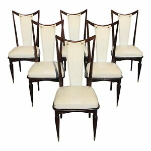 Classic Set Of 6 French Art Deco Solid Macassar Ebony Dining Chairs Circa 1940s