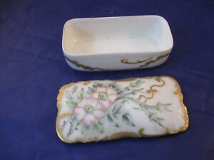 Antique Small Covered Porcelain Box H Co France