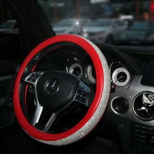 Car Steering Wheel Cover 38cm 15 Red Deluxe Pu Leather Rhinestone Bling Diamond