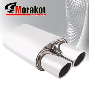 Universal 2 5 Inlet Slant Dual Straight Rolled 4 Tip Muffler Stainless Steel