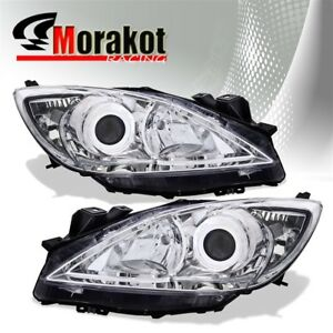 For 10 13 Mazda 3 Halo Projector Pair Headlights Clear Len Signal Reflector Lamp