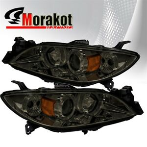 For 03 09 Mazda 3 Halo Projector Replacement Smoke Headlights Amber Reflector