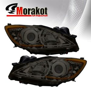 For 10 13 Mazda 3 Halo Projector Replacement Smoke Headlights Amber Reflector