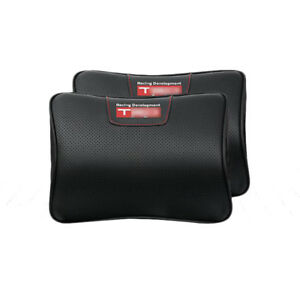 2pcs Car Neck Pillow Leather Memory Foam Head Rest Cushion For Toyota