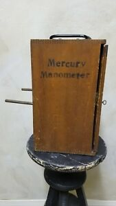 Rare Antique Glass Metal Mercury Manometer Medical Device In Locked Wood Box 14