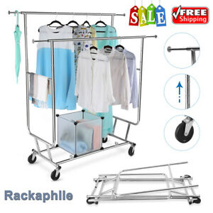 Collapsible Double Rail Rolling Garment Rack Clothes Hanger Closet Organizer New