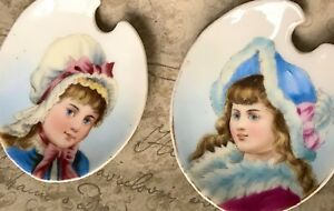 Antique French Spoon Rests Pair Porcelain Girls Portraits Dep 6 Hand Painted