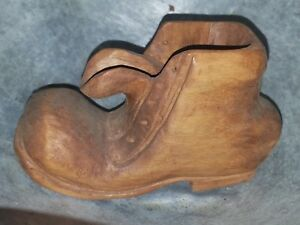 Vintage Small Wooden Hand Carved Shoe Folk Art