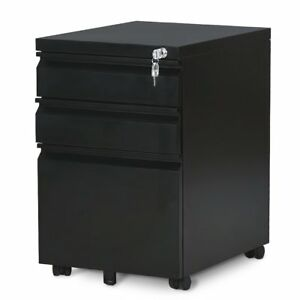 Locking File Cabinet 3 Drawer Rolling Metal Filing Cabinet Fully Assembled