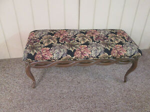 52041 Vintage Cox Furniture Upholstered French Window Seat Bench