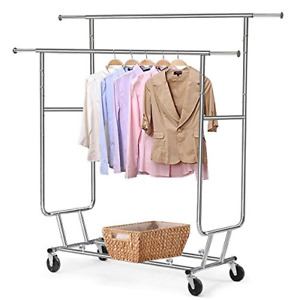 Go2buy Commercial Clothing Garment Rolling Collapsible Rack Hanger Holder Double