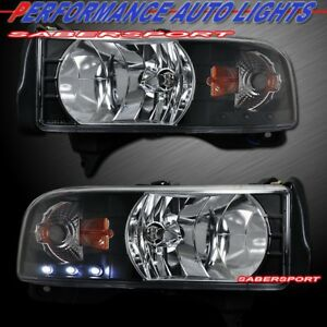 Set Of One Pieces Style Black Headlights W Led For 1994 2001 Dodge Ram Pickup