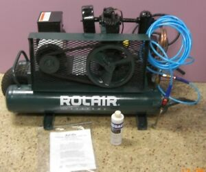 Rol air Model 5715 Twin Tank Air Compressor S n 10271 Volts 115 230 Cy 60