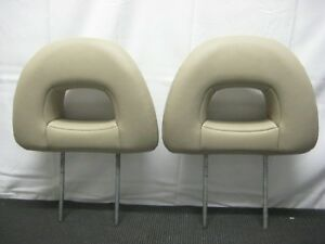 2001 2005 Mitsubishi Montero Limited Front Seat Headrests Head Rest Tan Leather