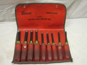Set Snap on Metric Nut Drivers Ndm1090ak Tools 4 13mm W roll Pouch 9pc