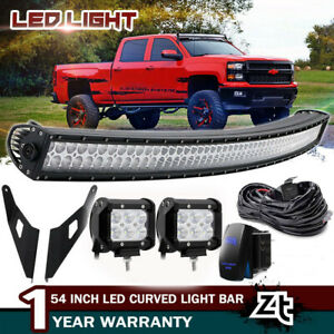 For Chevy Silverado Tahoe Suburban 54 Curved Led Light Bar upper Roof Brackets