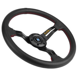 350mm 6 Bolt Deep Dish Jdm Sport Racing Steering Wheel Black Perforated Leather