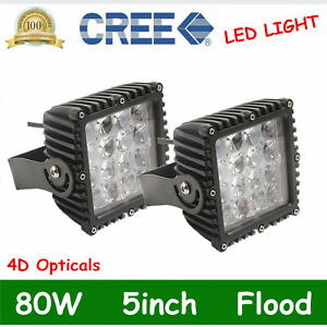 2x 5inch 80w Led Work Light Flood Driving Fog Lamp Offroad 4wd Bumper Square 4d