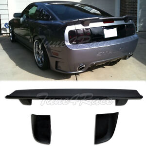 For 05 09 Ford Mustang Unpainted Black 3 Pcs Rear Wing Spoiler R Style Brand New