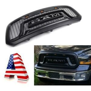 Black New Rebel Style Dodge Ram 1500 Grill For 2013 2018 Abs Honeycomb Grilles