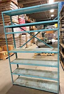 Industrial Metal Shelving Unit Warehouse Shelving Blue 6 Feet 3 Tall