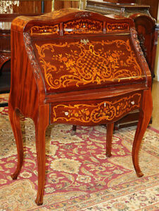 Best Inlaid Mahogany Satinwood Rj Horner Secretary Writing Desk Indian Ladies